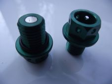 "Magnetic CNC green sump plug Oil Drain Bolt ""Lockwire drilled"" M12x1.5 Honda"